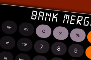 Image: Bank Merger spelled out on calculator screen