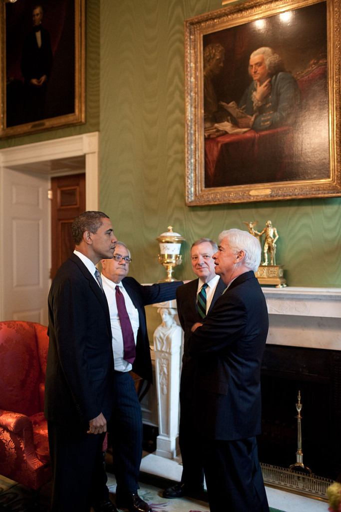 """Obama, Frank, and Durbin in the Green Room"" by White House (Pete Souza) / Maison Blanche (Pete Souza) - The Official White House Photostream. Licensed under Public Domain via Commons - https://commons.wikimedia.org/wiki/File:Obama,_Frank,_and_Durbin_in_the_Green_Room.jpg#/media/File:Obama,_Frank,_and_Durbin_in_the_Green_Room.jpg"