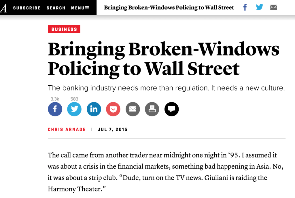 "Broken Windows, Broken Banks! It's time to institute a Wall Street ""Zero Tolerance"" policy."