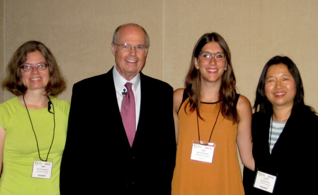 Ethical leadership speaker Richard Bowen along with Amy Hageman (left, Kansas State U) and Lucy Chen (Villanova U) and Lea Kilibarda, a co-writer of the Kellogg Case.