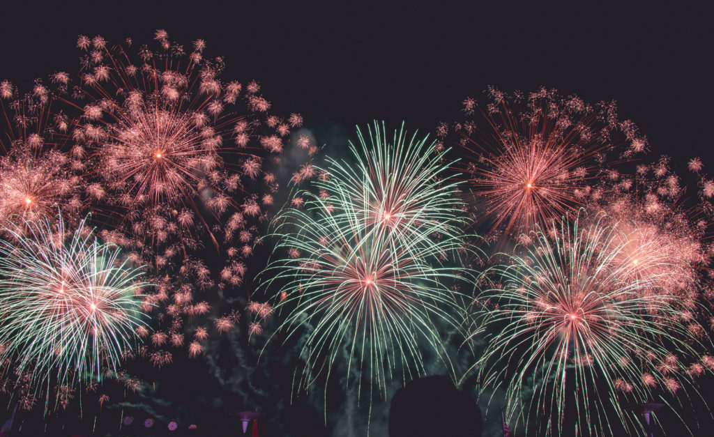 Image: multicolored fireworks on a night sky