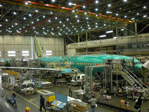 Image of boeing plant with large plane inside
