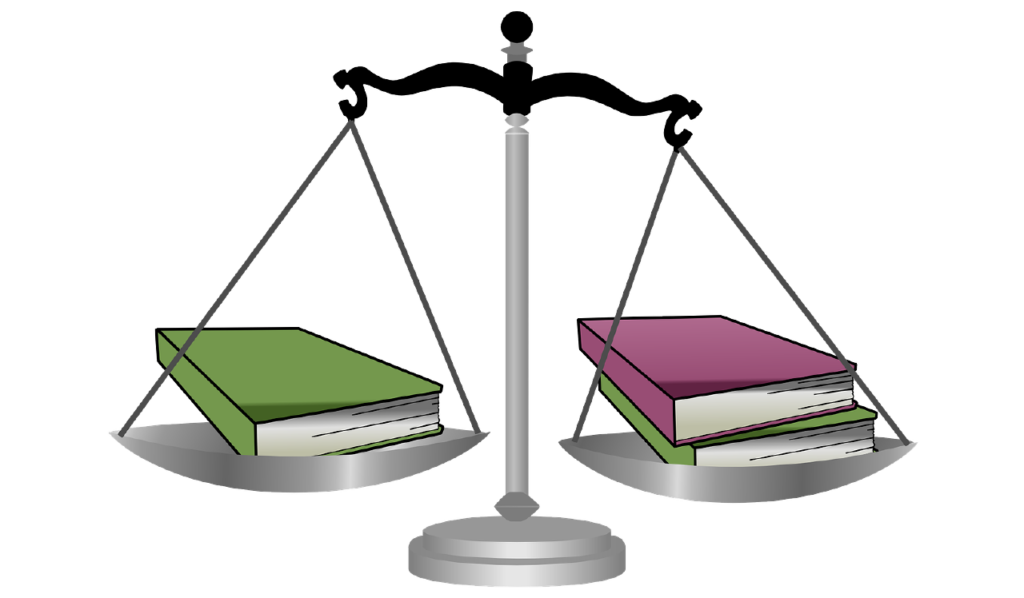 Graphic of scales weighing books