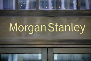Photo fo Morgan Stanley's name on the headquarters door