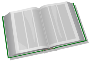 Graphic of large open book with multicolumn text blocks
