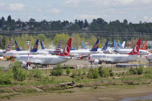 Photo of grounded Boeing jets at Boeing Field in Seattle Washington.