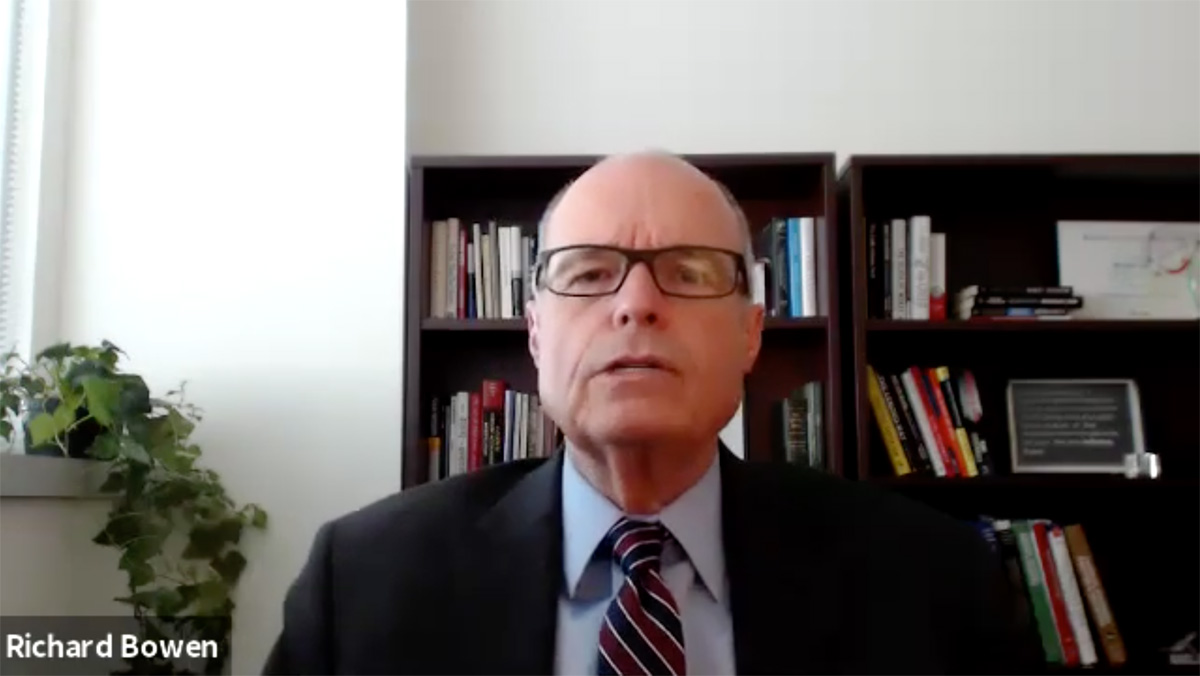 Screen shot of Richard M. Bowen on McCuistion TV, Skyped in from his office.
