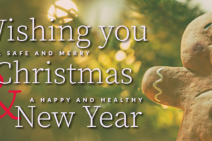 "Image of a gingerbread man ornament hanging on a tree behind the text, ""Wishing you a safe and merry Christmas & a happy and healthy New Year"""
