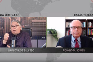 Screenshot of split-screen interview with Juan Carlos Salcedo on the left and Richard M. Bowen on the right.