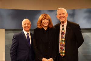 PIcture of Jim Faulk, Marianne Jennings and Dennis McCuistion on the McCuistion Television set.