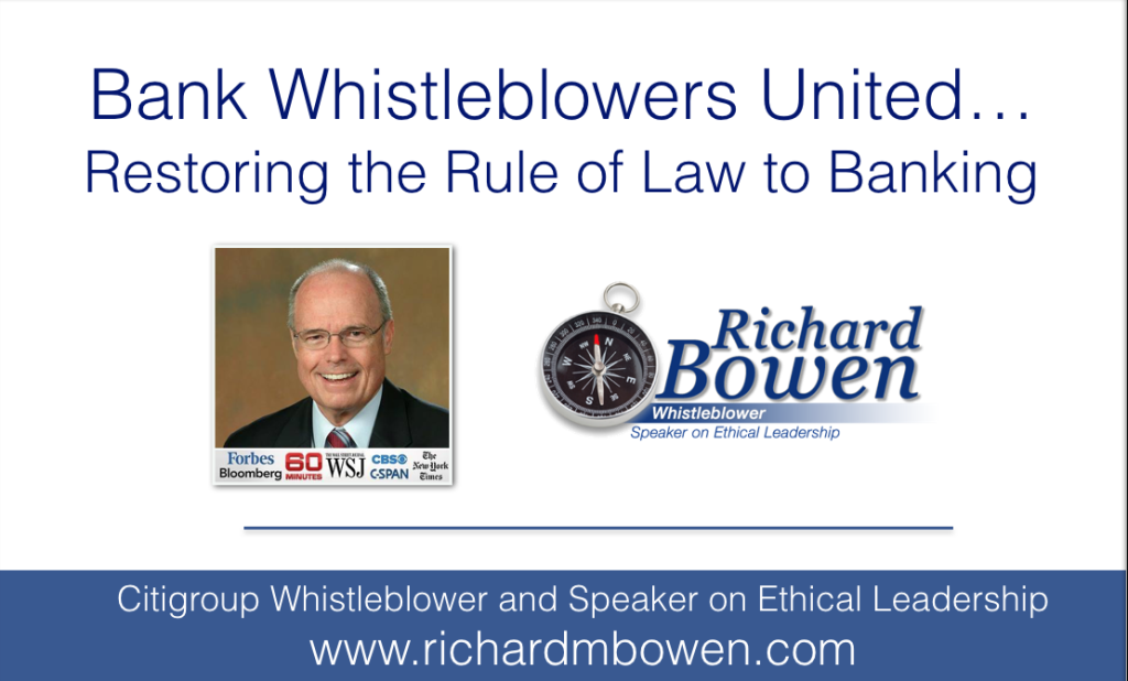 Bank Whistleblowers United… Restoring the Rule of Law to Banking.