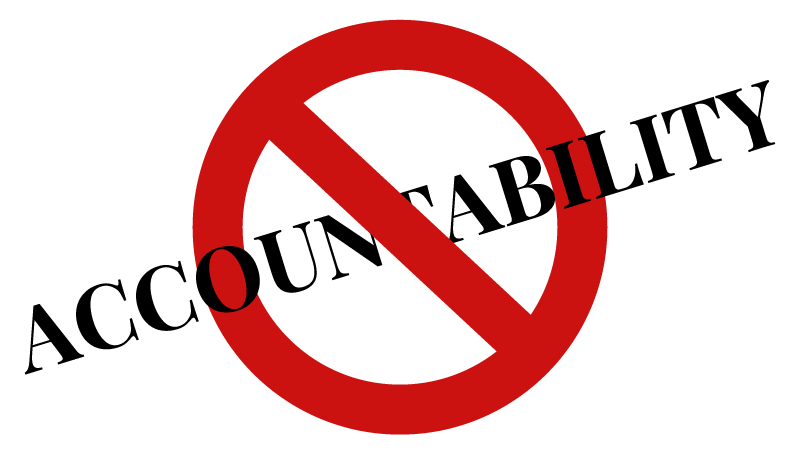 "Graphic with the word ""Accountability"" in all caps running across a circle with a line through it."