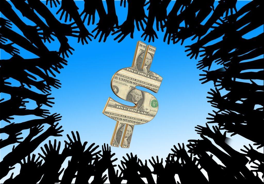Graphic of hands reaching inward around the frame toward a U.S. dollar symbol.
