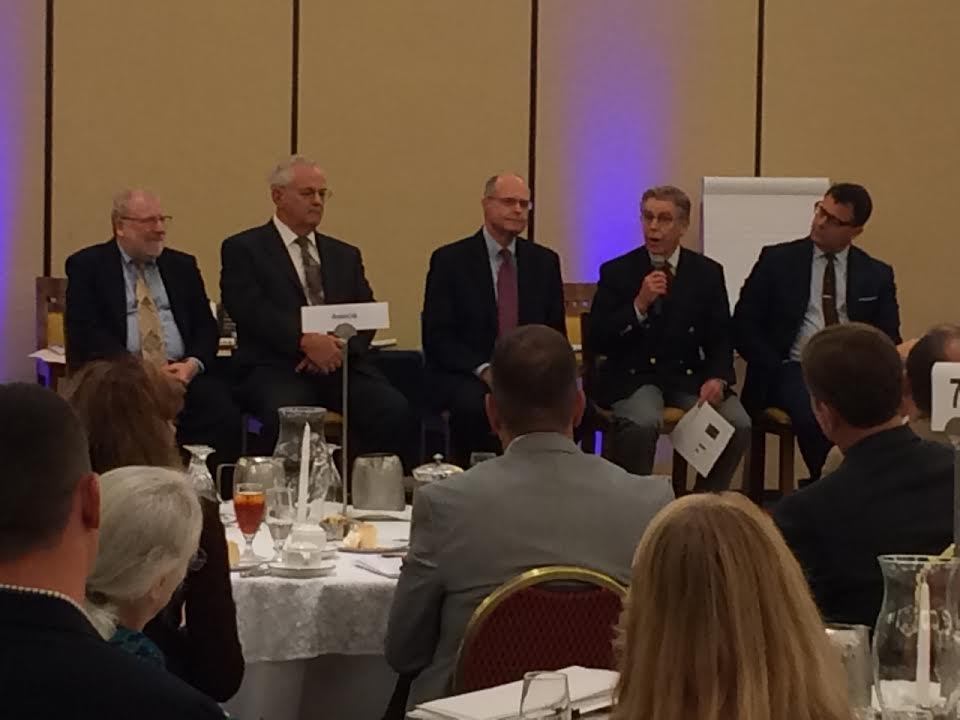 """The """"What Caused the Financial Crisis?"""" panel. Left to right: Bill Black, Rusty Cloutier, Richard Bowen, Peter Wallison, and George Selgin."""